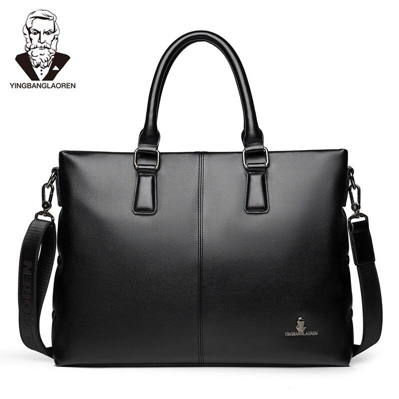 New Design Men' S Briefcase PU Leather Computer Laptop Handbag Casual Shoulder Bag Messenger Bag Male Business Travel Bag