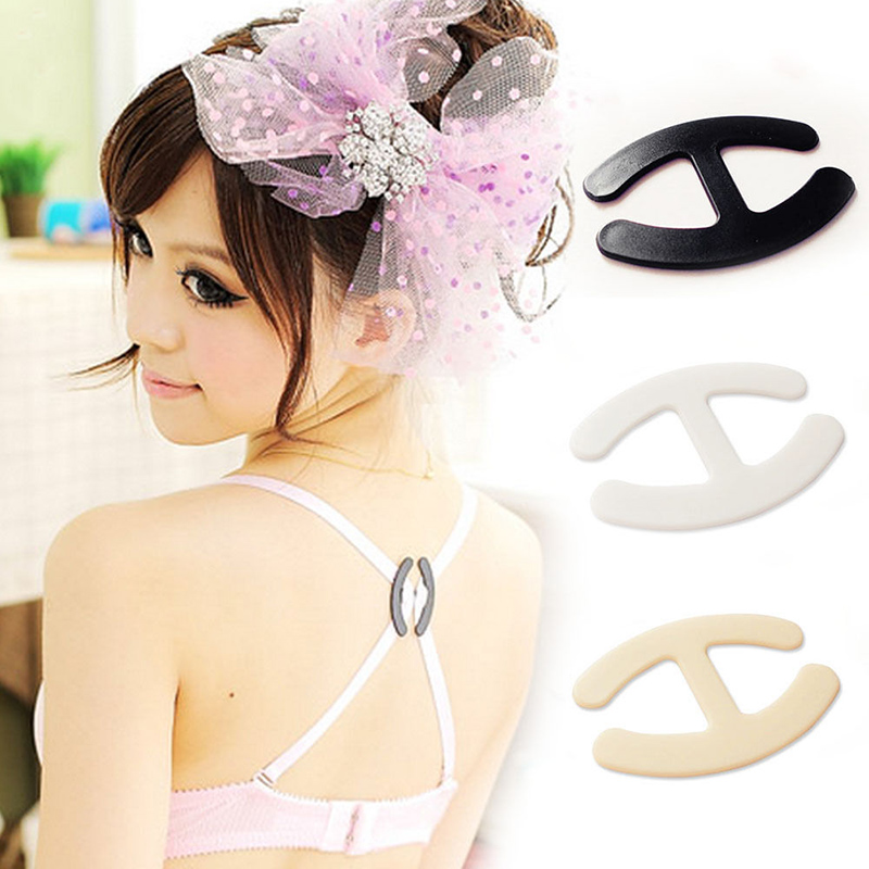 2018 New 3 PCS Charming Hide Converter Women's Push Up Cleavage Control Invisible Bra Strap Belt Clip Buckle Non-slip Buckle image