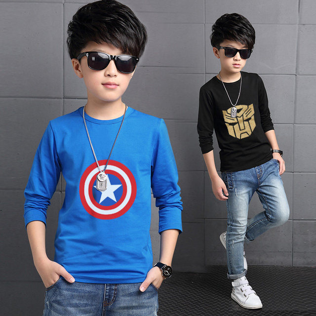 2017 Spring Fashion Boys Tops T Shirt Korean Long Sleeve Tshirt Children Clothing Kids Cotton Printed Crewneck Blusa Menina