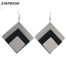 EMPRESS Glamour Punk Design Stylish Three-Class Foam Aluminum Geometric Display Earrings for Women Accessories Jewelry