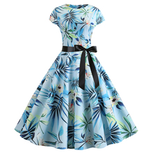 Bebovizi 2019 Summer New Women A-Line Flower Print Casual Office Elegant Blue Vintage Dresses Plus Size Sexy Party Bandage Dress