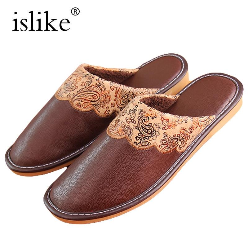 새 겨울 남자 가죽 슬리퍼 PU 인쇄 Paisley 옥스포드 슬라이드 따뜻한 플러시 실내 Flip Flops 방수 큰 크기 신발