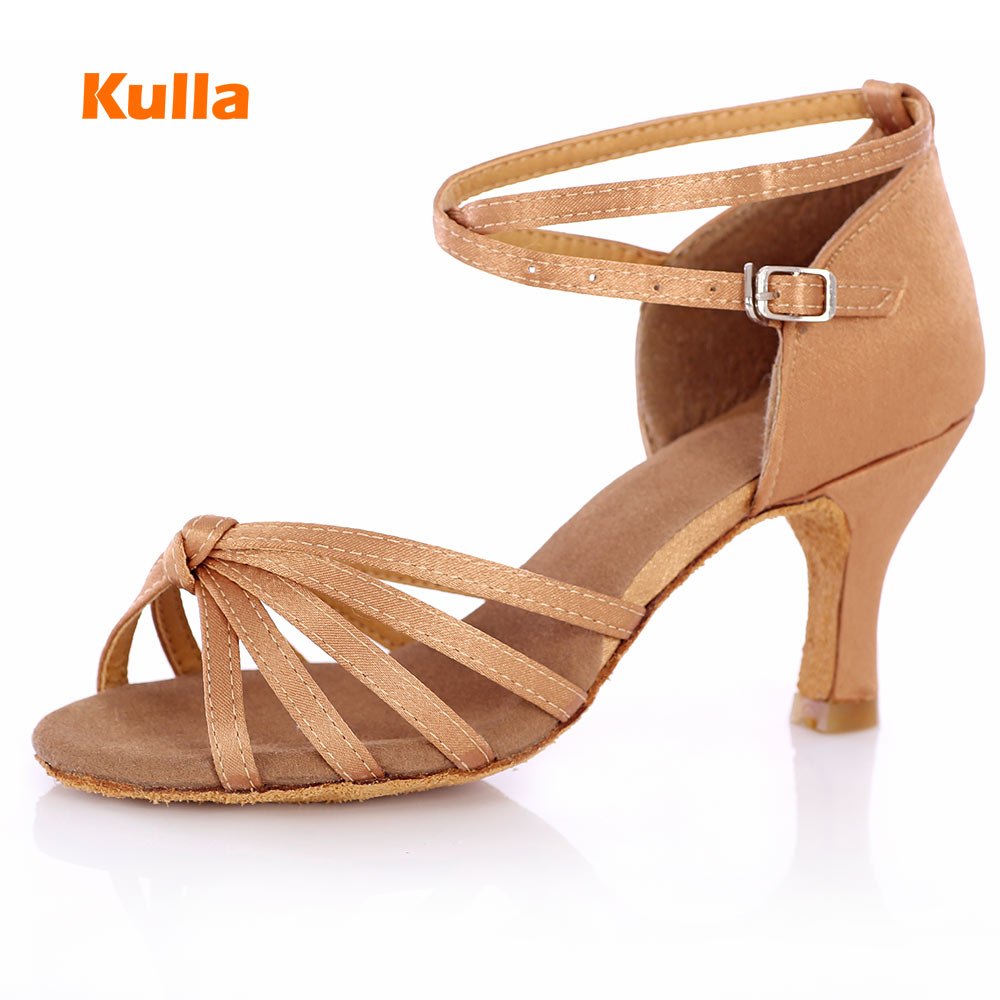 KULLA New Arrival Light Brown Ballroom Tango Latin Dance Shoes For Women Dancing Salsa Shoes High-heeled Adult Soft Outsole L35