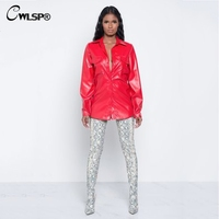 CWLSP PU Blouse Womens Turn Down Collor Blouse 2018 New Fashion Long Sleeve Punk Style Blouse