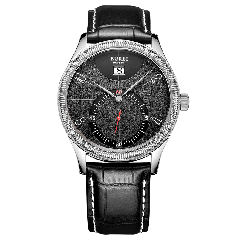 BUREI 3033 Switzerland watches Unique Design 3033-CO6EY Big Face Black Watch For Men with Black Leather Strap блузка golub б1155 3033 2548