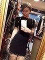 2016 Vestido feminino sexy Vestido de Festa das mulheres designer de marca de luxo cc bodycon elegante pérola frisado borla malha vestido bandage