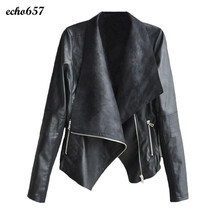 New Fashion Women Coat Echo657 Hot Sale Fashion Vintage Women Biker Motorcycle Leather Zipper Jacket Coat Dec 15