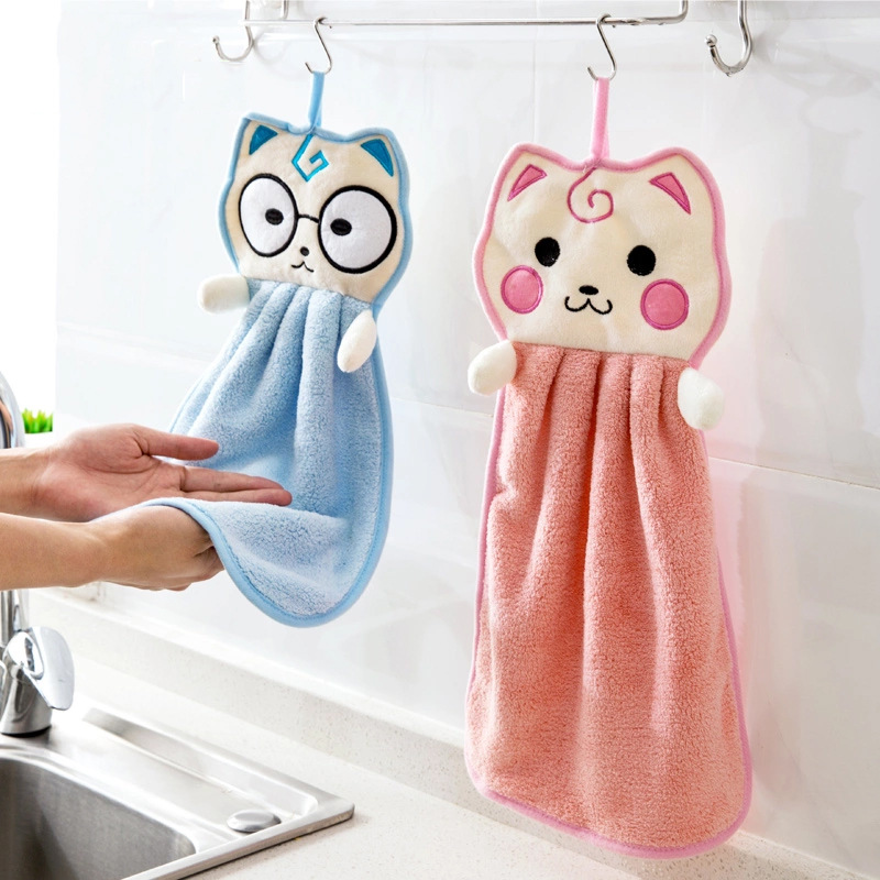 Creative Cartoon microfiber thickened coral velvet can be hung soft cat face towel super absorbent kids bathroom kitchen