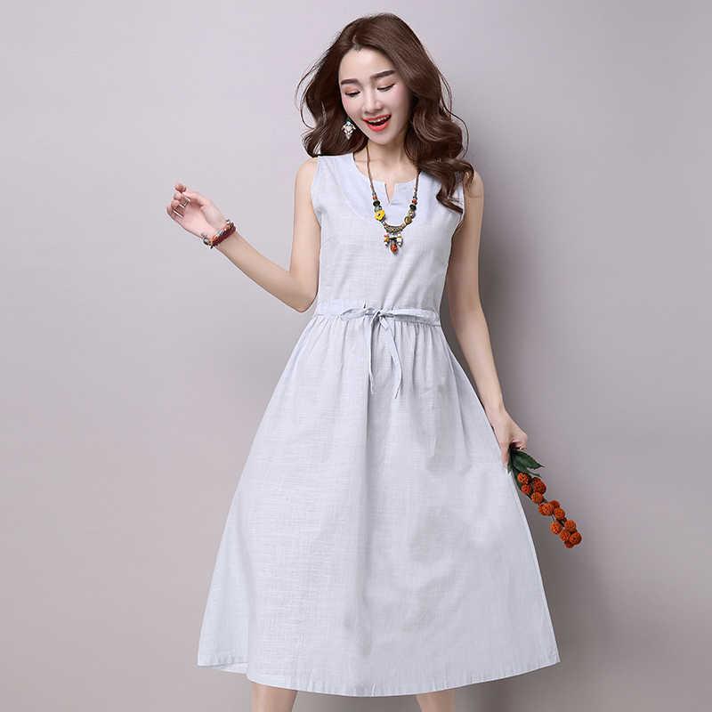 女性ドレス新国立風夏の女性のドレスノースリーブ V ネックの女性のドレス大サイズ S-XXL A636