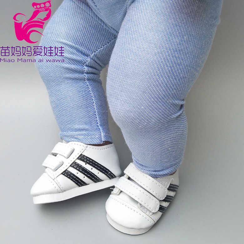 """Se adapta a 43cm baby Doll negro Rosa Blanco zapatos para 18 """"niña muñeca zapatos botas de juguete accesorios para muñecas"""