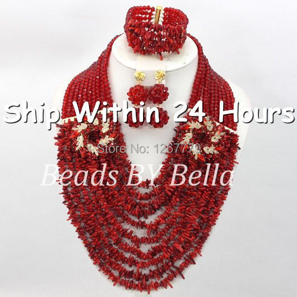 цена на Graceful Red Coral Beads Wedding Jewelry Set Indian Bridal Jewelry Set Mix Crystal Beads Set Hot Free Shipping ABC407