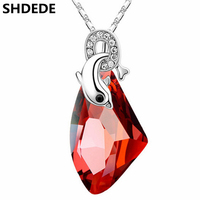 SHDEDE Austrian Crystal Necklace Dolphin Pendant Women High Quality Red Rhinestone Fashion Jewelry Anniversary Gift 979