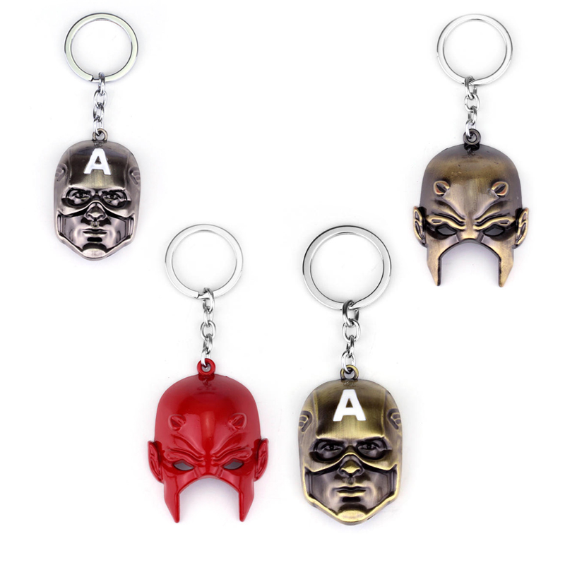 Marvel Comics Captain America Mask Keychain Movie Jewelry High Quality Metal The Daredevil US Captain Mask Key Chain Ring Gift image