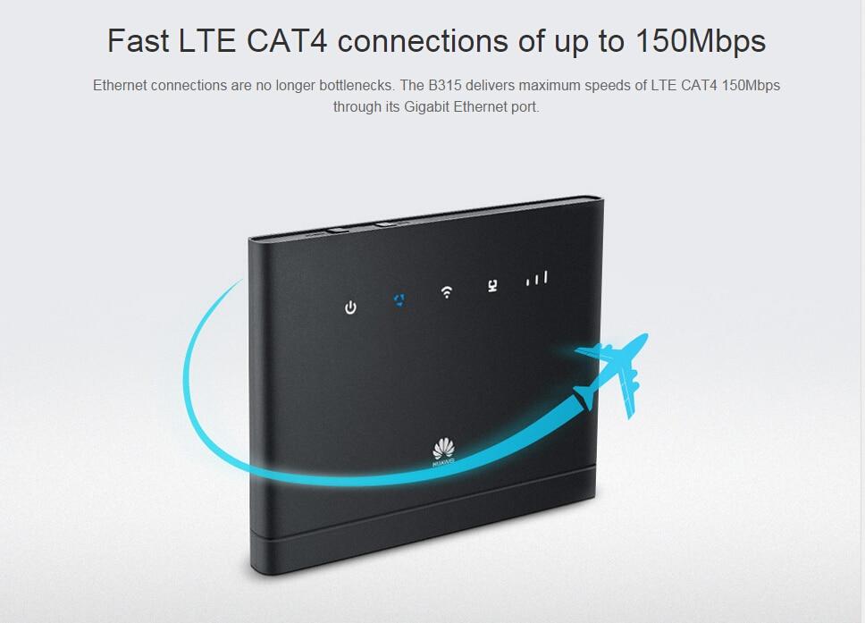 Débloqué Huawei B315s-22 150 Mbps CAT4 4G cpe wifi routeur 3g 4g mifi CPE sans fil Routeur 4G WiFiPK B593 e5172 b310 b315 e5186