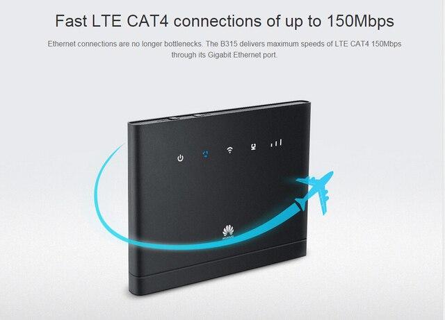 US $79 92 41% OFF|Unlocked Huawei B315s 22 150Mbps CAT4 4G cpe wifi router  3g 4g mifi CPE wireless Router 4G WiFiPK B593 e5172 b310 b315 e5186-in