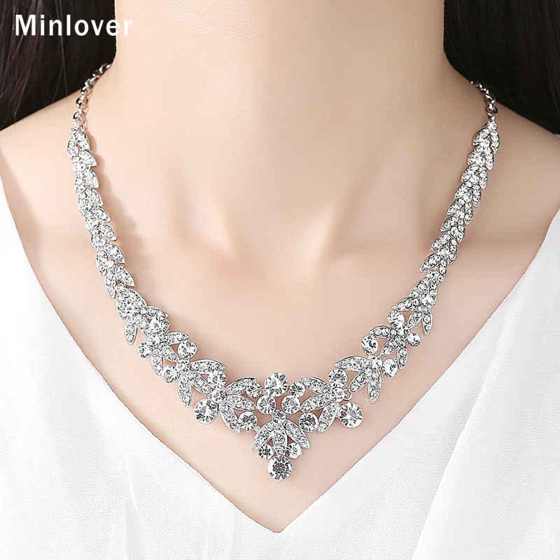 Minlover Luksuzni srebrni barvni kristalni nakit za poročne obleke - Modni nakit - Fotografija 2