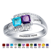 Personalized Birthstone Promise 925 Names Rings Couple in Silver Engraved Names Split Band Ring with Stones For Lover & Friends