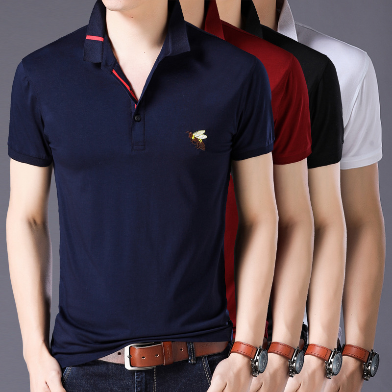 Brand New Fashion Men   Polo   Shirts Summer Luxury Bee embroidery Breathable Camisa Masculina Soft Cotton solid   Polo   Men