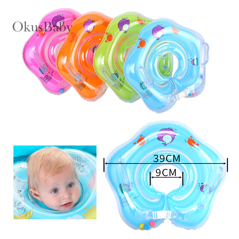 Double Air Bags Soft Swim Ring Baby Neck Protect Ring Safety Infant Float Circle For Bathing Inflatable Water With Safety Locks