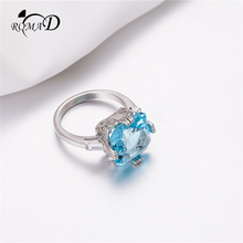 ROMAD Square Crystal Ring for Women Big Blue Zirconia Finger Vintage Engagement Silver bague homme R4