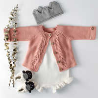 Одежда для маленьких девочек; осенний детский вязаный комбинезон; комплект для новорожденных; кардиган для маленьких девочек; свитер для ма...