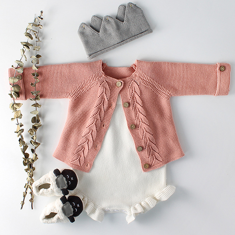 8d48bd561fab Baby Girls Clothes Autumn Baby knitted Romper Set Infant Newborn ...