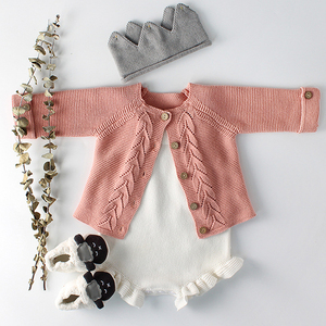 Baby Girls Clothes Autumn Baby knitted Romper Set Infant Newborn Baby Girl Cardigan Boys Sweater Cotton Baby Jumpsuit For Girls(China)