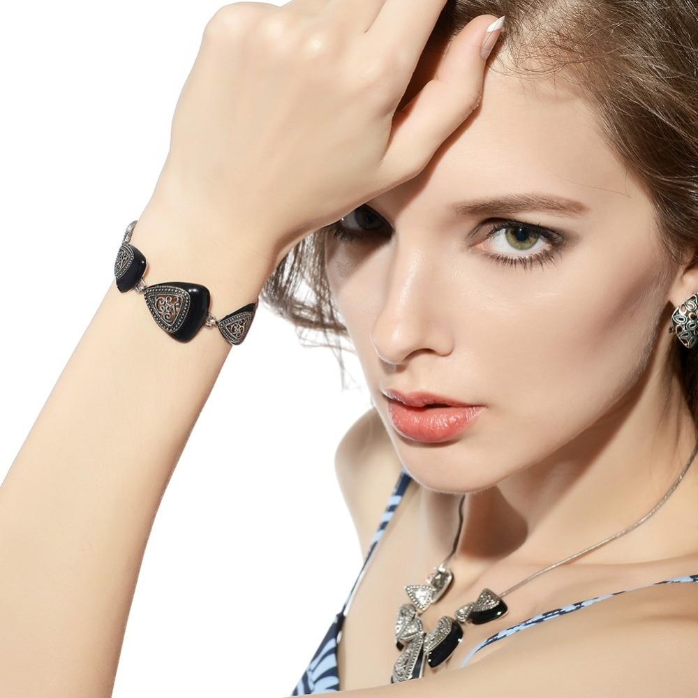 Viennois Vintage Bracelet Bangles Rose-Gold/gun Color-Triangular Women for Retro Retro