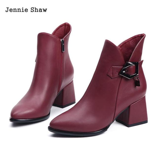 Winter Med Heel Ankle Boots Women Shoes Genuine Leather Point Toe Martin Boots Sys-1690