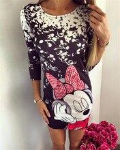 Bayanlar Için 2016 Yaz Sonbahar Yeni Moda Elbise Giyim Karikatür Mickey Mous Miki Baskı O-Boyun Mini Rahat Kılıf Elbiseler Vestido