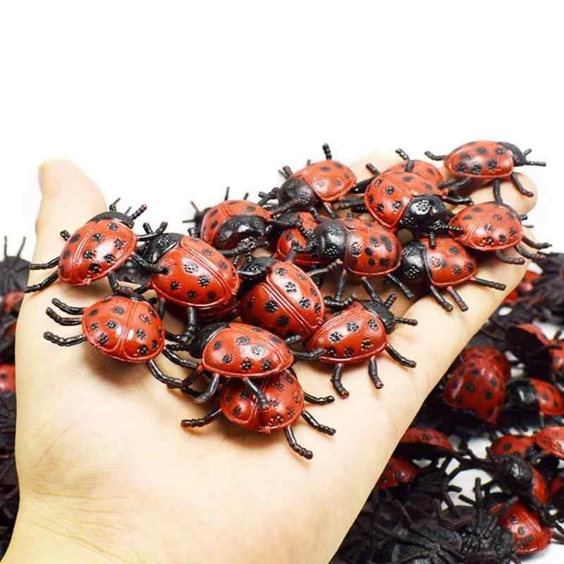 1/5/10 Buah Halloween Ladybug Mainan Serangga Prank Lelucon Praktis Mini Plastik Simulasi Mainan Hidup Model Trik mainan Kejutan Hadiah