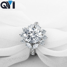 QYI Solid 925 Sterling Silver 4 ct Fashion Women Engagement Jewelry Oval Cut Zircon Female Wedding Finger Flower Rings Gift