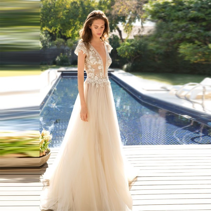 robe de mariee 2017 sexy champagne see through tulle wedding dress deep v neck backless bridal. Black Bedroom Furniture Sets. Home Design Ideas
