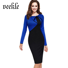 VEEKLE Elegant Patchwork Color Block Office Dresses Skinny Long Sleeves Blue Red Bow Autumn Dress For Women Brief Split Bottom