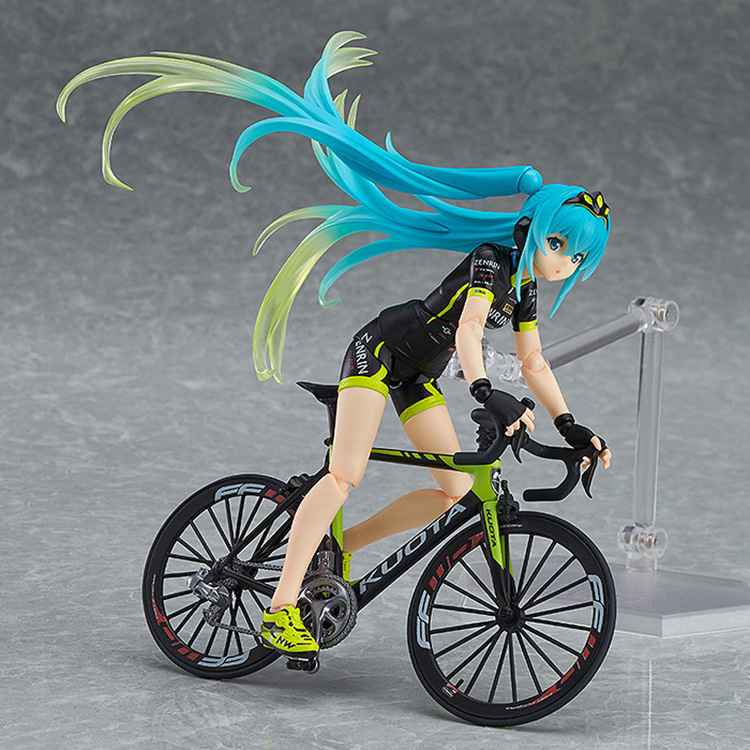 14cm Anime Action Figure VOCALOID Hatsune Miku Figma 307 Team UKYO Support Ver Cycling Bike Model Collection Sports Girl Doll