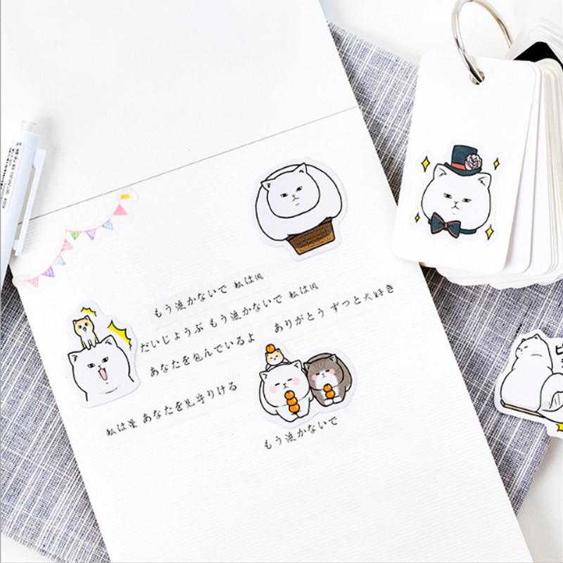 Купить с кэшбэком 45 Pcs/box Cute cat Mini Paper Decoration DIY Scrapbook Notebook Album seal Sticker Stationery Kawaii Girl Sticker