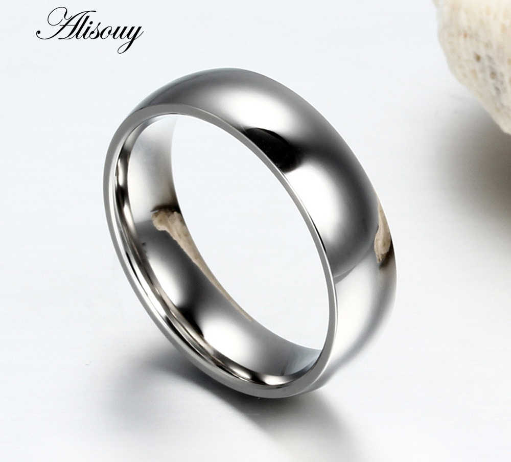 2019 High-grade Simple unisex ring for men women Silver Blue Steel three color titanium steel ring Prevent allergy ring Size4-14