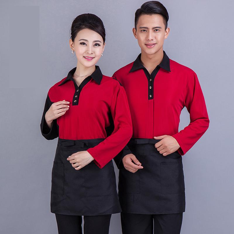 Beauty Hotel Uniform Thousands Of Autumn And Winter Long Fast Restaurant Waitress Overalls Uniform Hot Pot Shop J244