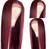Eseewigs бразильский человеческих волос Цветной Синтетические волосы на кружеве парики для черный Для женщин 13X6 прямо предварительно накладка