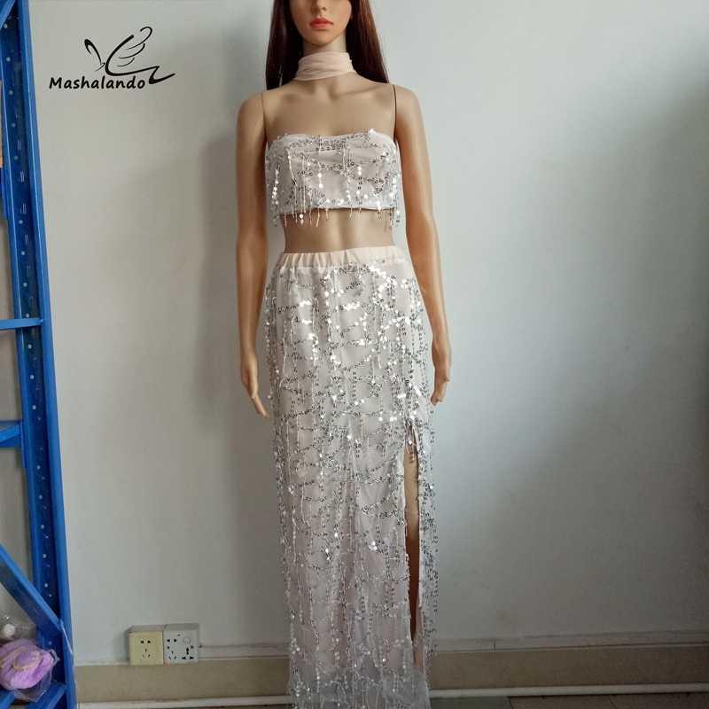 Tassel Sequined Off shoulder Maxi Dresses 2017 vestidos New Summer Dress  Women 2 PC Strapless Crop 0c0b92b117e9