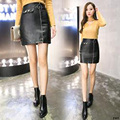 Autumn leather short skirt female 2017 small leather skirt plus size slim hip skirt step water wash PU