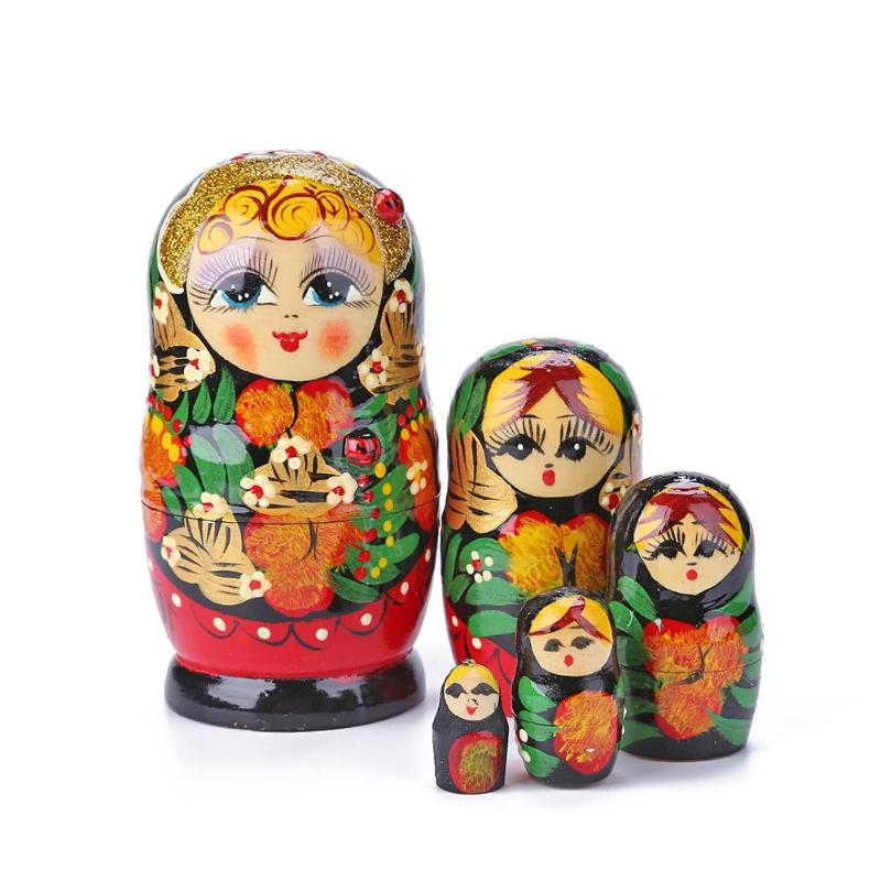 5Pcs Wooden Russian Nesting Dolls Matryoshka Toy Hand Painted 5 Types Gift !