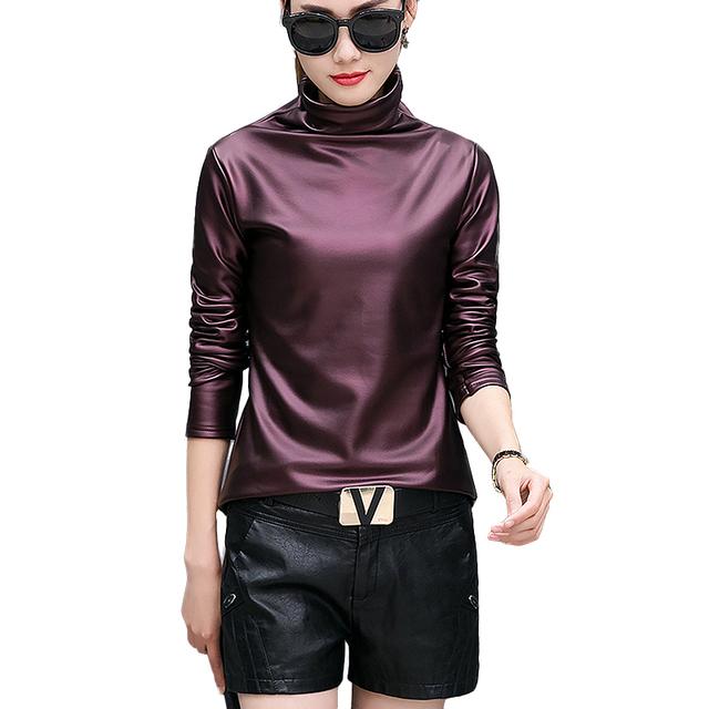 Harajuku women t-shirt sexy long sleeve Turtleneck velvet t shirt female tops plus size 4XL punk style stretch PU Leather tshirt