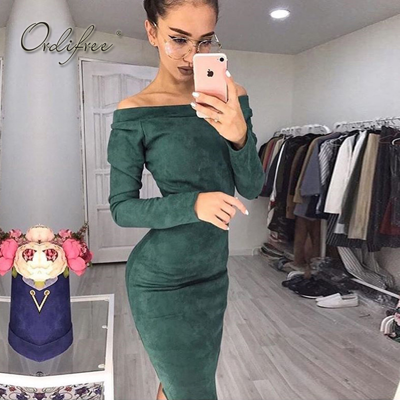 Ordifree 2019 Autumn Women Bodycon Midi Dress Long Sleeve Sexy Wrap Dress Red Green Off Shoulder Bodycon Suede Dress