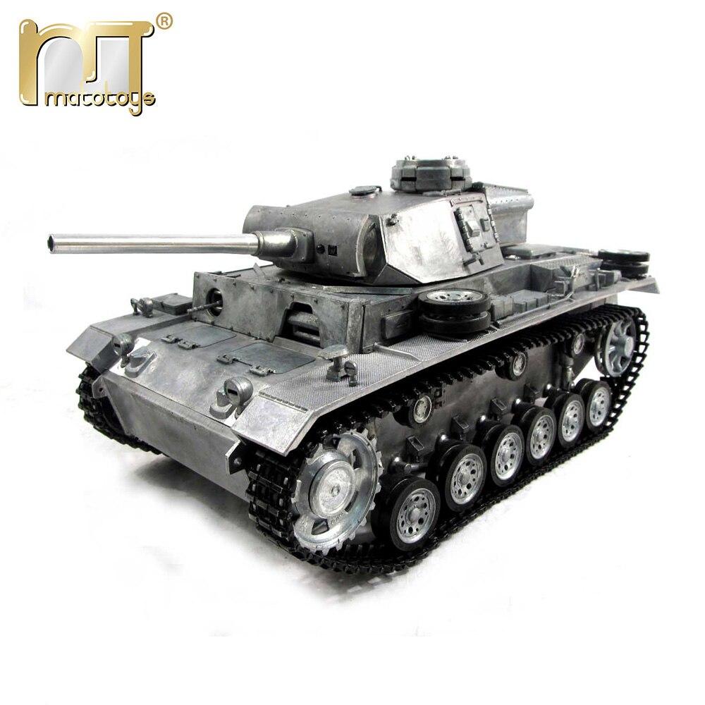 Мату 1 16 Завершить все полный Металл Немецкий Panzer III RC танк модель airsoft отдачи ствола Готов к Запуску РТР версии военных танковый бой танки на ...