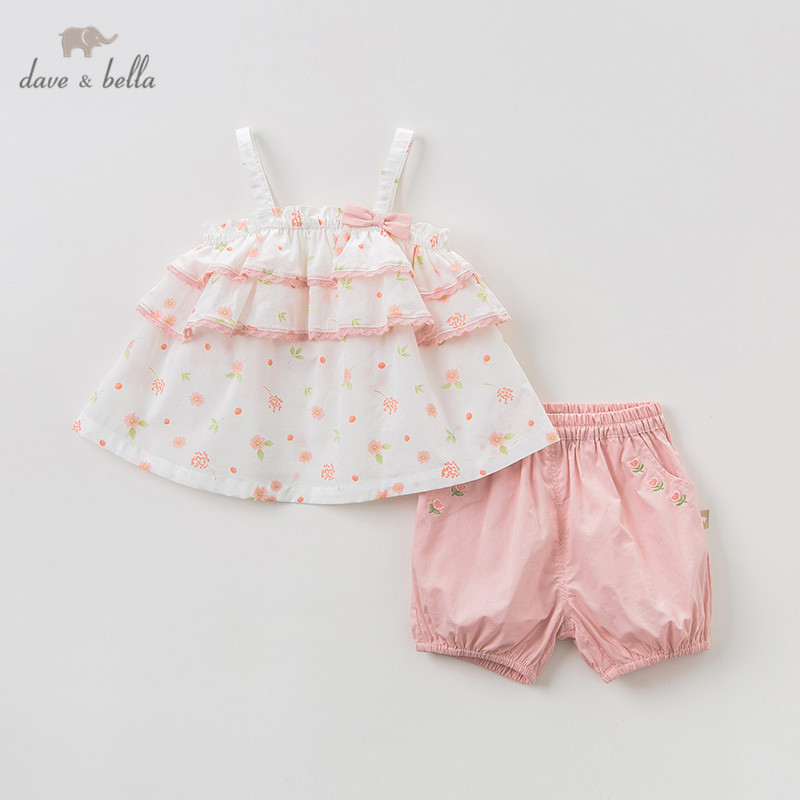 DBZ10272 Dave bella summer baby girl clothing sets floral children suits infant high quality clothes girls pullover outfit