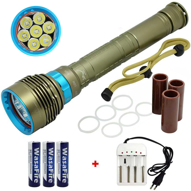 15000 Lumen LED Diving Flashlight 7x XML L2 Underwater Torch Spearfishing Lamp Scuba Flashlights 18650 Flash Light Dive Torch wasafire underwater video photography flashlight 18 led dive flash light camping lamp xml l2 torch with 18650 battery charger