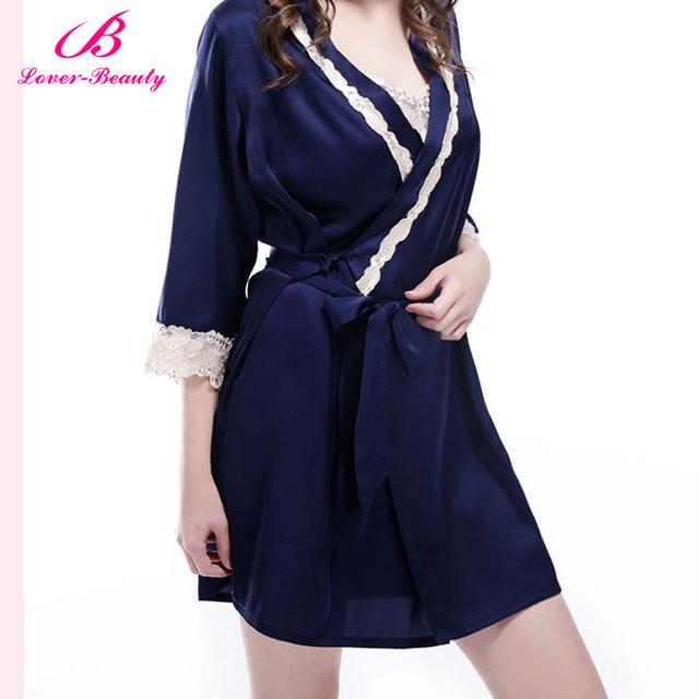 Amante de La Belleza de Encaje Robe pijamas Noche Corto Satén Novia de La Boda de dama de Honor Batas Batas Bata Kimono bata Bata De Seda Floral Gown-A2