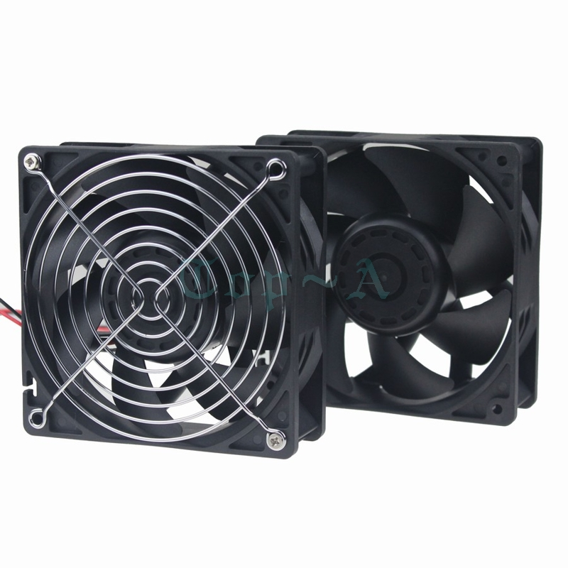 Gdstime 5 pcs 12V High Pressure High Temperature 240CFM 12038 120mm x 38mm Dual Ball PC DC Cooling Fan + Iron Net 12cm 120x120mm delta qfr1212ehe 120mm 1238 12038 12cm 12 12 3 8cm 120 120 38mm fan 12v 1 5a cooling fan