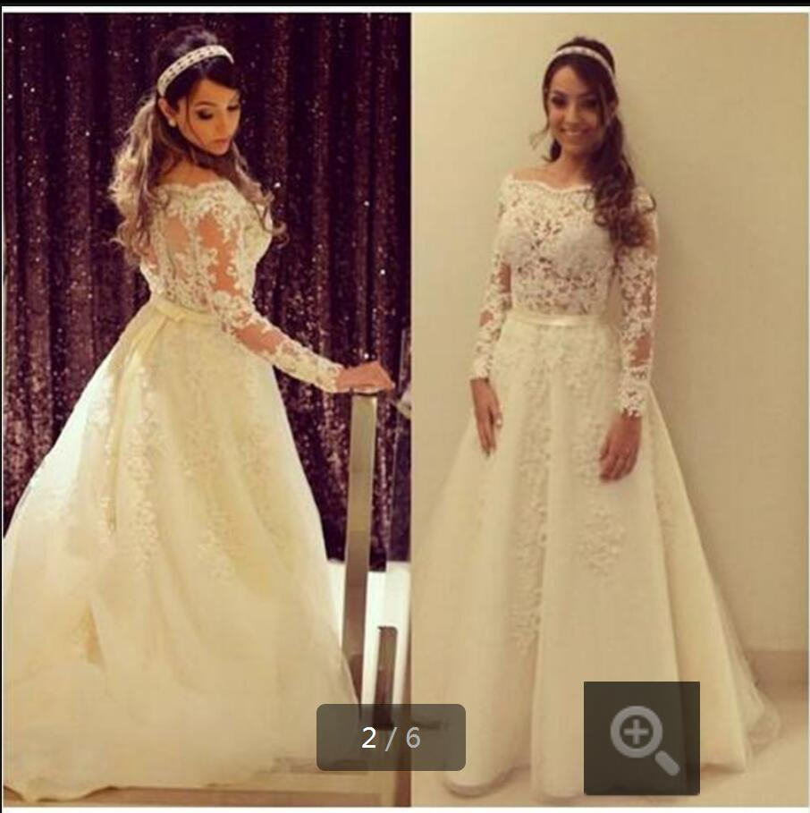 New putih Lace appliques garis Wedding Dresses 2016 lengan panjang lengan belakang Bride Gown Sexy Wedding Gowns formal